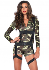 Knappes 2-tlg. Goin Commando Overall Kostüm in Camouflage Design